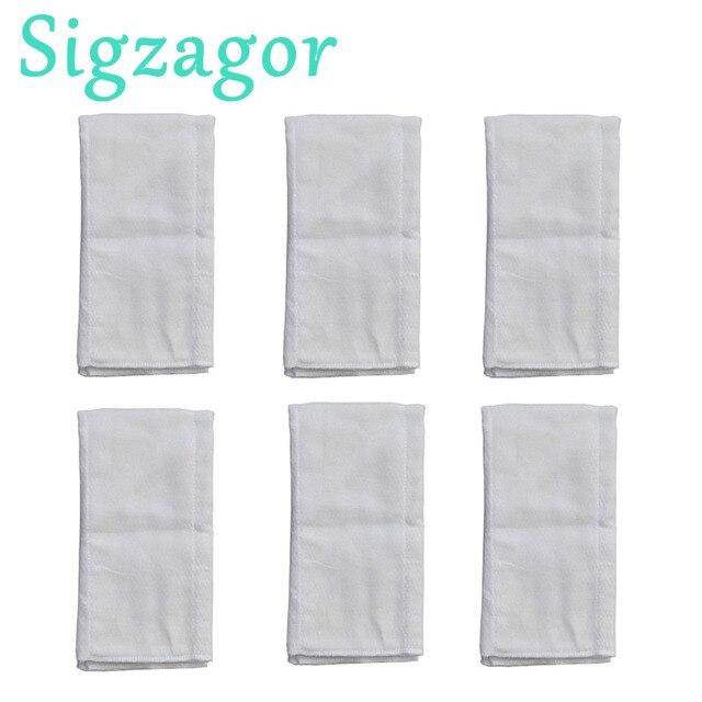 [Sigzagor] 6 Prefold Burp Cloths Diapers Nappies Inserts 2x3x2 Burp Cloth 100% Cotton Gauze Muslin 49x35cm 19.3x13.8in