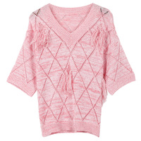 2019 harajuku Knitted Sweater Women Pullover Jumper Pink V Neck Tassel Hollow out Spring Summer Runway Design