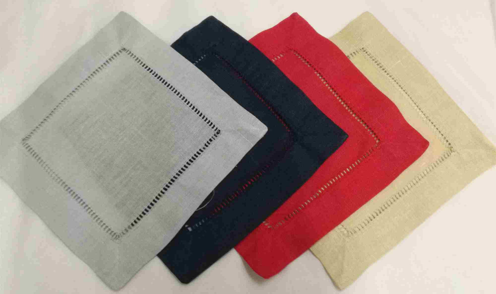 Se Of 600 Handkerchiefs Color Linen Hemstitched Cocktail Napkins 6