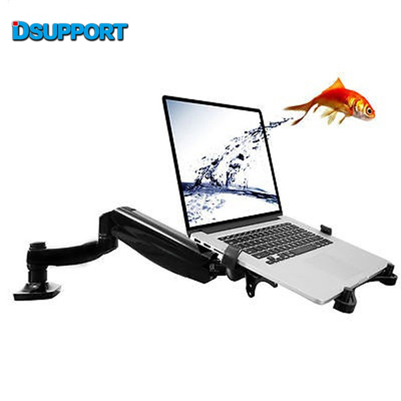 Loctek D5F Desktop Full Motion Gas Spring Dual Use 10-15.6 inch Laptop Holder + 10-27 inch Monitor Holder Bracket with USB Fan