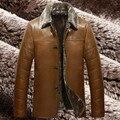 Chaquetas Cuero De Мужчины Зимние Мужские Пальто с Меховым Воротником Кожаная Куртка Chaquetones Hombre Мужские Роскошные Куртки и Пальто