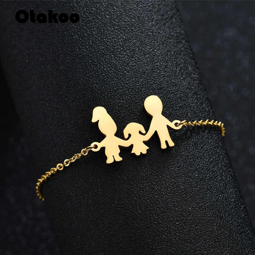 Otakoo بسيطة الأسرة سوار للنساء الأب الأم ابنة ابنة سلسلة ربط سوار التيتانيوم الصلب مجوهرات قطرة الشحن
