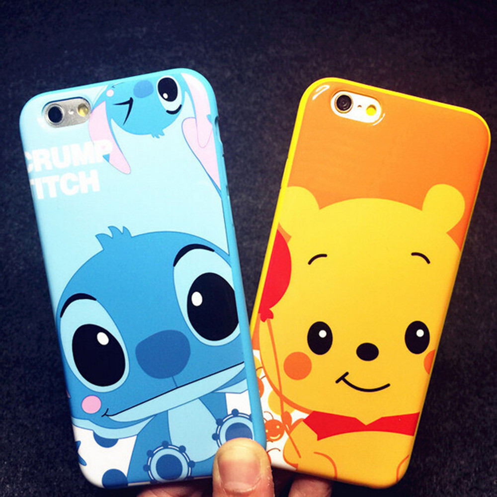 stitch winnie case for coque iphone 6 6s 7 plus 8 8 plus cases tpu silicone cartoon fundas for