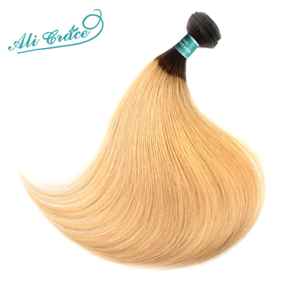 ALI GRACE Hair Brazilian Straight Hair With Closure 1B/27 Blonde Ombre Color 100% Human Hair Extention 10-26inch Remy Hair