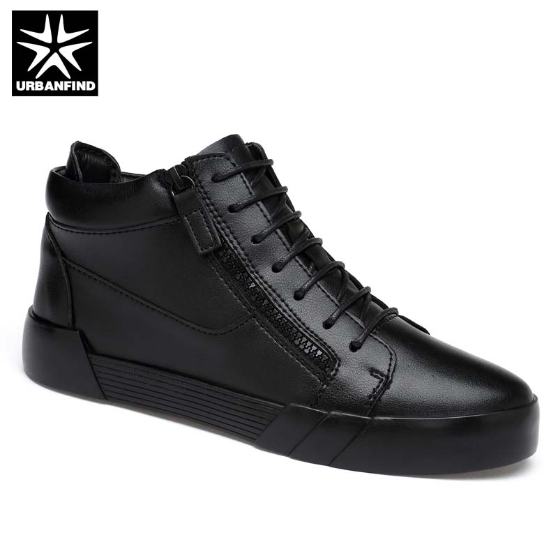 New Fashion Men Black Leather Sneakers Size 37-44 Height Increasing Boots Young Man Casual Shoes