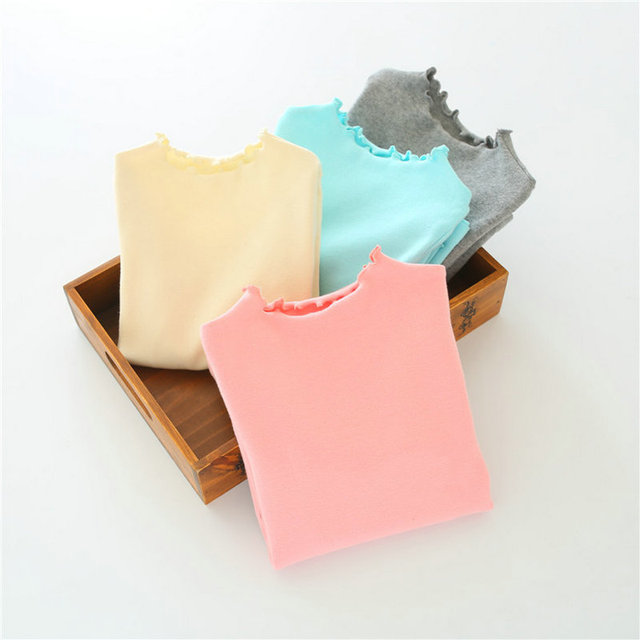 2016 New Fashion Spring&Autumn Girl's Tops A Variety of Color Falbala Pure Color High Quality Free Shipping