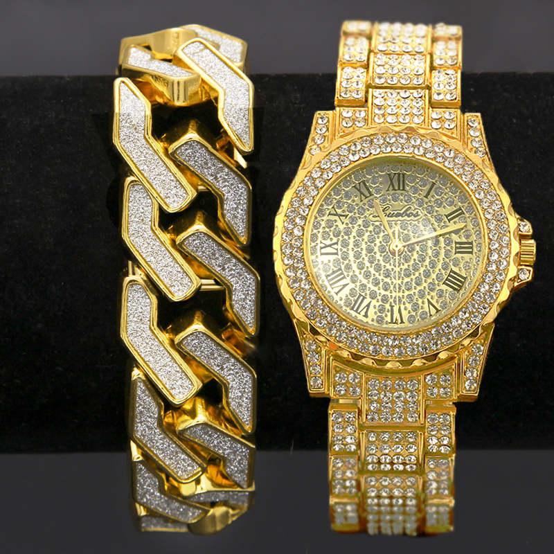 2Set Men Hip Hop Iced Out Lab CZ Crystal Bling