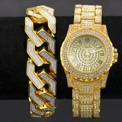 2Set Men Hip Hop Iced Out Lab CZ Crystal Bling Watch Glitter Geometric Bracelet Jewelry Gift