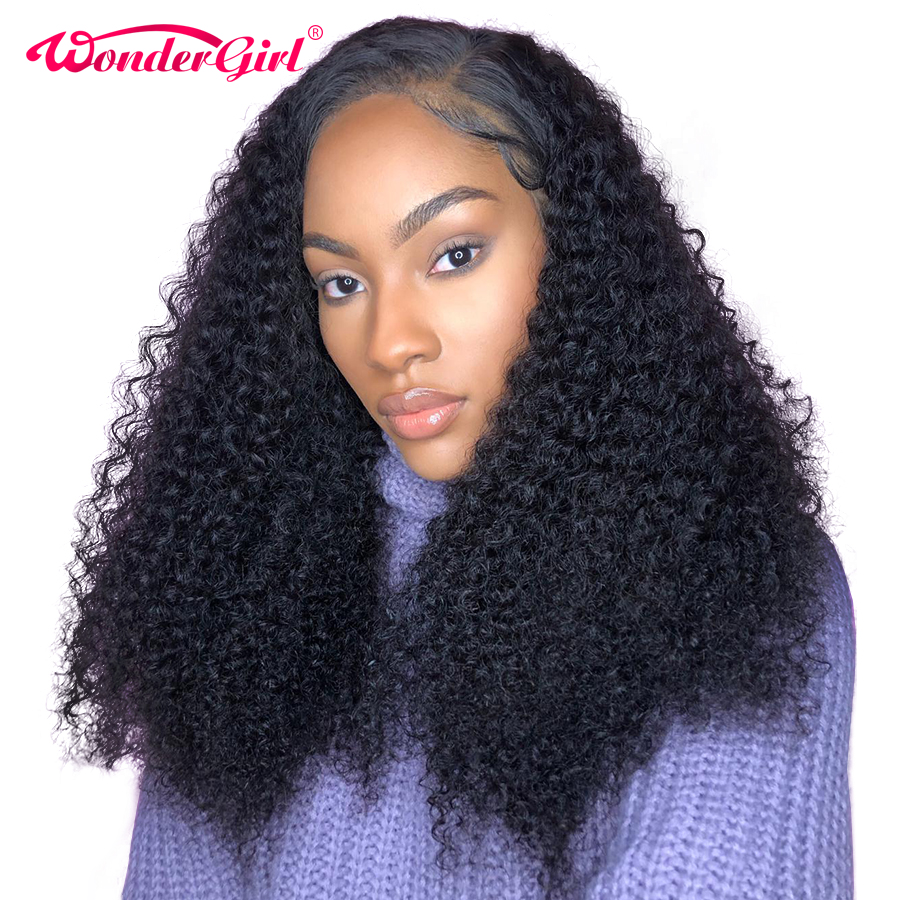 360 Lace Frontal Wig Pre Plucked Brazilian Kinky Curly Remy Hair Wig With Baby Hair Wonder girl 360 Lace Front Human Hair Wigs-in Human Hair Lace Wigs from Hair Extensions & Wigs    1