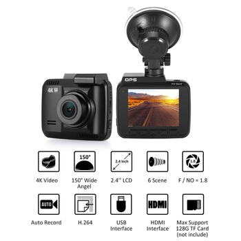 GS63H WiFi Car DVR Recorder Dash Cam 2.4 Novatek 96660 Camera Built in GPS Camcorder 4K 2880x2160P Night Vision G-sensor image