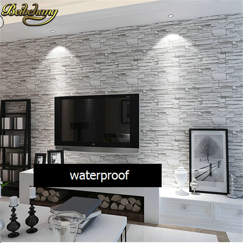 Beibehang 3d wallpaper stone brick design background wall for Wallpaper home improvement questions