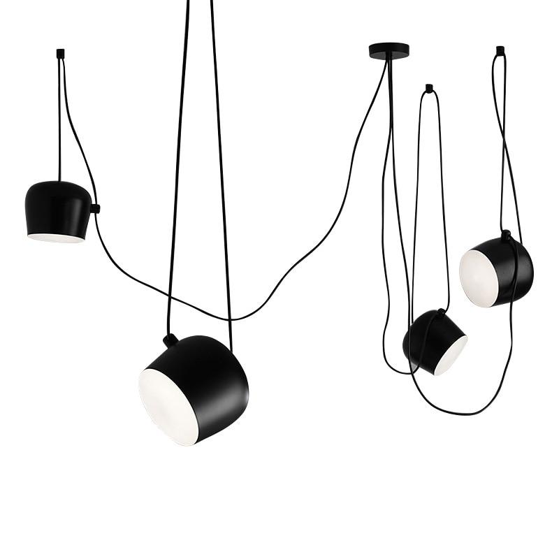 Us 36 3 34 Off Wongshi Diy Spider Black White Drum Pendant Lamp Aim Commander Office Model Room Minimalist Light In