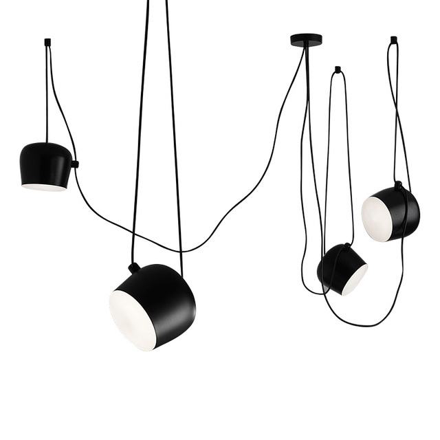 Wongshi DIY Spider Black White Drum Pendant Lamp AIM Commander Industrial  Office Model Room Minimalist Pendant