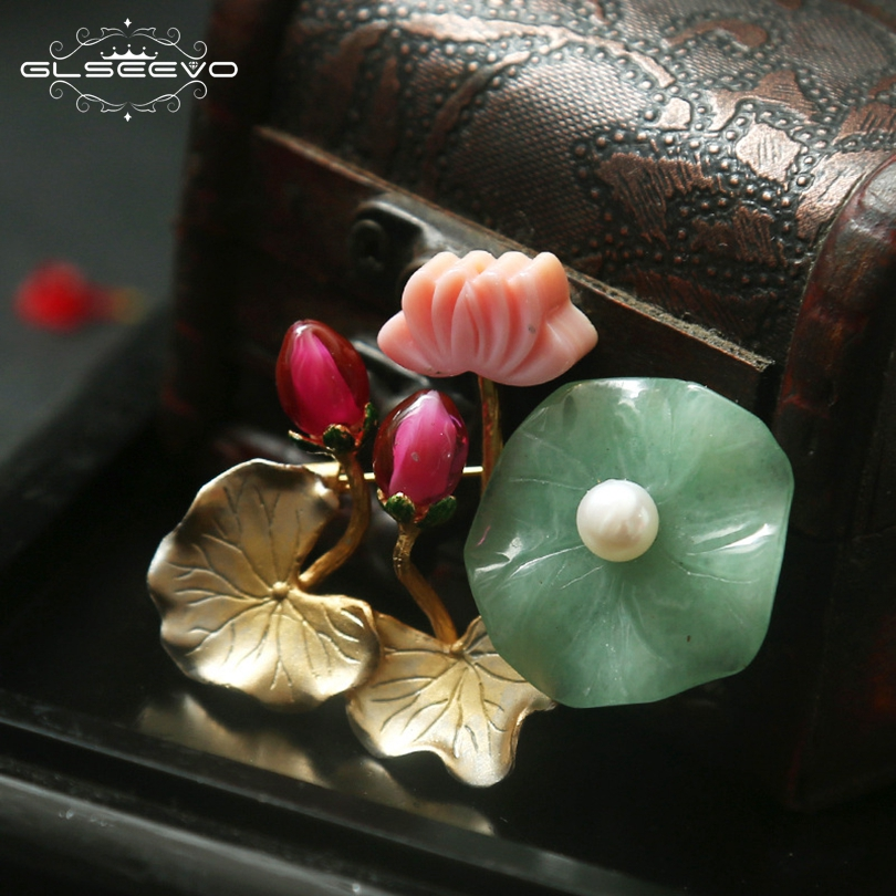GLSEEVO Natural Jade Pearl Brooch Pins Lotus Flower Leaf Brooches For Women Birthday Gift Dual Use Luxury Fine Jewellery GO0129 delicate rhinestone flower leaf brooch for women