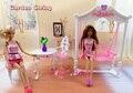 Garden Swing Tea Table Chair Set / Dollhouse Furniture Pretend Play Accessories Toy for 1/6 Barbie Kurhn Kelly Ken Doll Gift