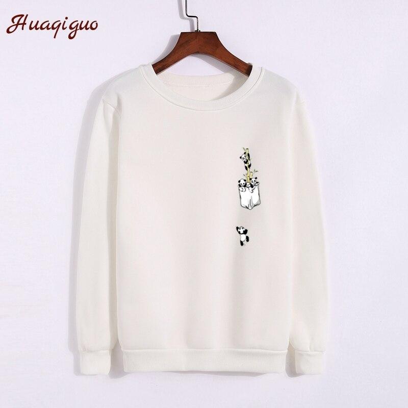 2017 Autumn Hoodies Fashion Women Thickening Harajuku Funny Pocket Panda Printed Sweatshirt Winter Lady Girls O-neck Basic Tops