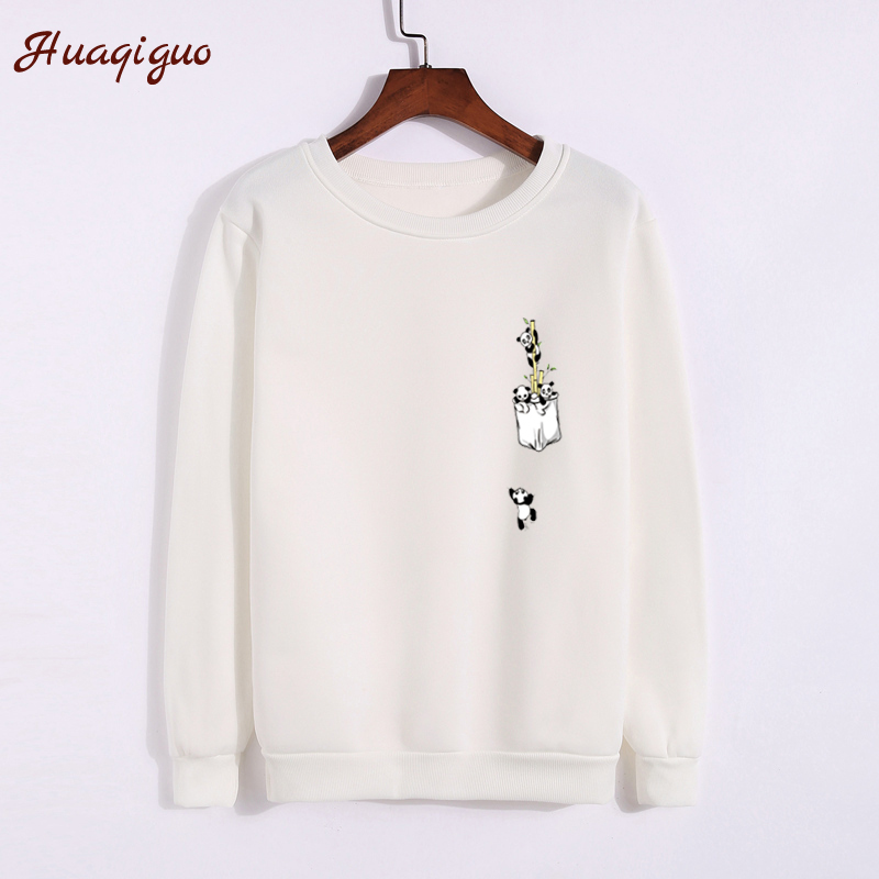 2017 Autumn Hoodies Fashion Women Thickening Harajuku Funny Pocket Panda Printed Sweatshirt Winter Lady Girls O-neck Basic Tops