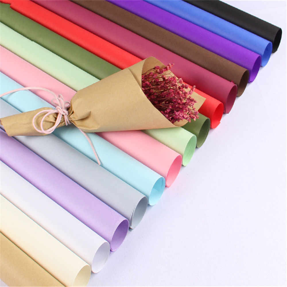 High quality single-color cowhide flower wrapping paper flower shop supplies bouquet wrapping paper material 45 Pcs