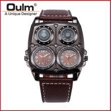 New special compass decorations men sports japan quartz movement leather strap branded watch oulm 1140 military wrist watch