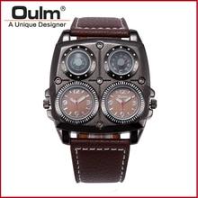 Nuevas decoraciones de la brújula especial hombres deportes japón movimiento de cuarzo correa de cuero reloj de marca oulm 1140 militar reloj de pulsera