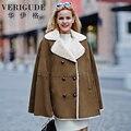 Veri Gude Women Poncho Coat for Winter Faux Rabbit Fur Cloak