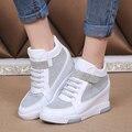 Novas Mulheres de Verão Sapatos Casuais Recortes Sapatos de Plataforma Respirável das Mulheres Sapatos Casuais Sapatos de Malha Ar Sapatos de Ouro Sliver