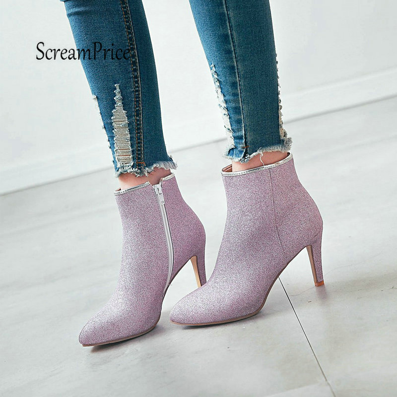 Sexy Thin High Heel Ankle Boots Fashion Side Zipper Winter Woman Shoes Gold Black Silver Purple