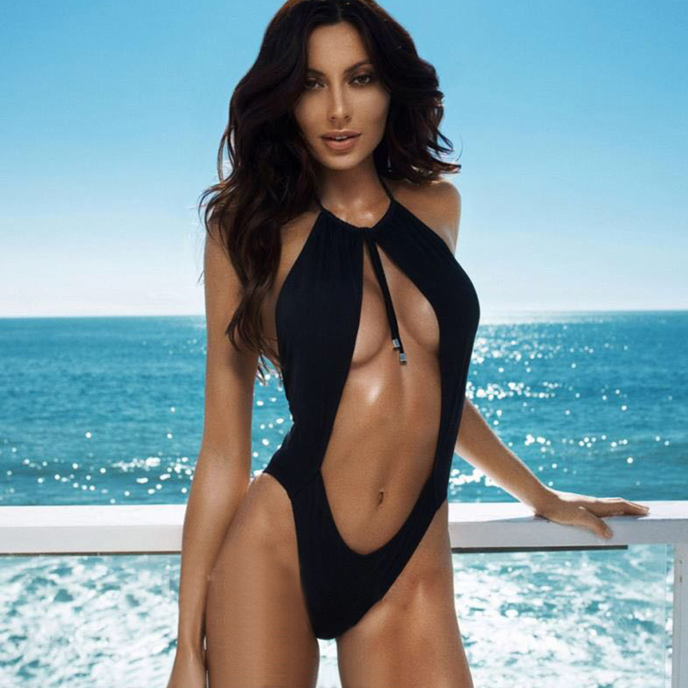 2017 Black Swimwear Women Hot Sexy One Piece Swimsuit Hollow out Bathing Suit High Cut Swimsuit Mesh Swimming Suit Female холодильник avex rf 245 t