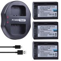 3Pcs 2000mAh NP FH50 NP FH50 Batteries +Dual USB Charger for Sony A230 A330 A290 A390 DSC HX1 HX100 HX200 HDR TG1E TG3 TG5 TG7