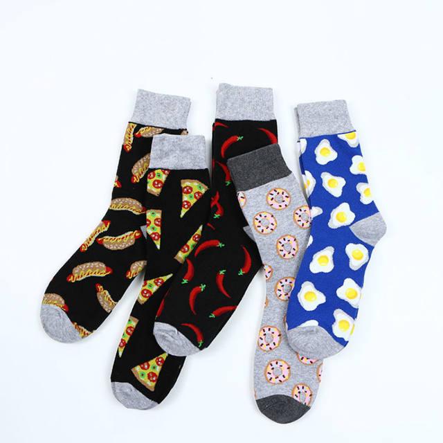 PEONFLY Brand Cotton Men's Socks Funny Hip Pop Fruit  Hot Pepper Coffee Beans Alien Long Cool Skate Sock for Men