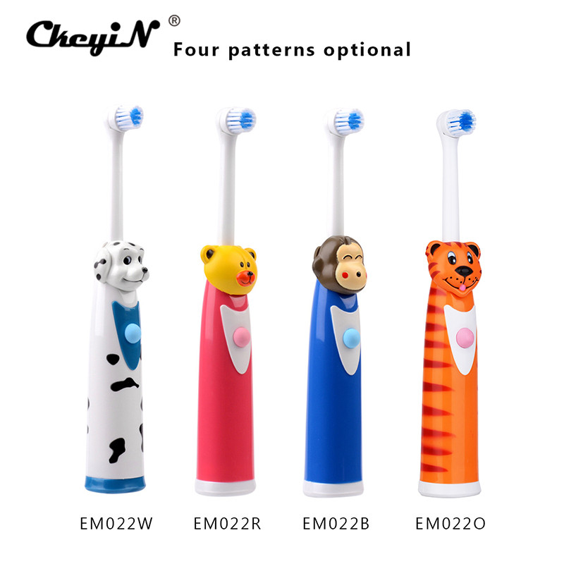 CkeyiN 4Pcs Cartoon Children Kids Electric Toothbrush Sets With 8 Brush Head Rotation Battery Operated Teeth Brush Oral Care ultra soft children kids cartoon toothbrush dental health massage 1 replaceable head outdoor travel silicone retractable folding