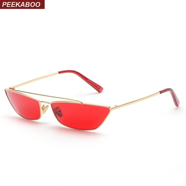 Peekaboo 2018 retro cat eye sunglasses mulheres pequena armação de metal  ouro preto rosa amarelo vermelho 722694f814