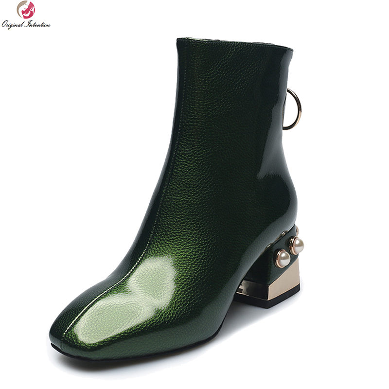 Original Intention Women's Stylish Winter Ankle Boots Elegant Green Champagne Gray Block Heel Square Toe Shoes Woman Size4-10.5