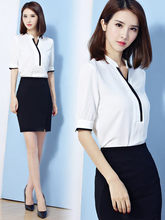 2019 新ファッショナブルな気質スリムフィットビジネススーツ女性のための作業服半袖スチュワーデス美容師作業服