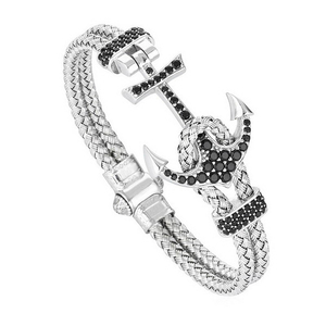 Image 2 - Anchor Cuff Bracelets & Bangles Men Atolyestone Bracelet Gold Stainless Steel Anchor Black Leather Cuff Bangles Pulsera BCB 0125