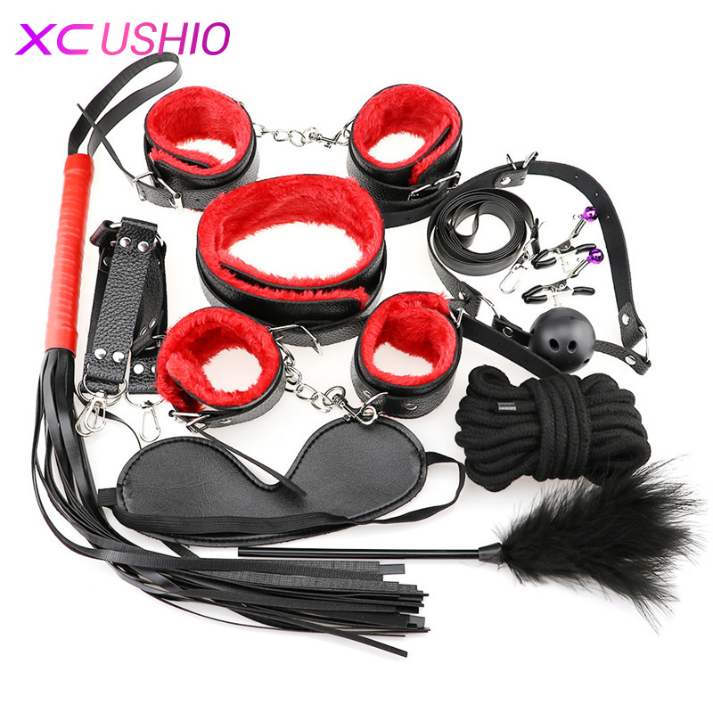 Sex Bondage Restraint Set 10pcs/set Adult Games Sex Erotic Toys Handcuffs Nipple Clamp Whip Collar Sex Toys For Couples Flirting