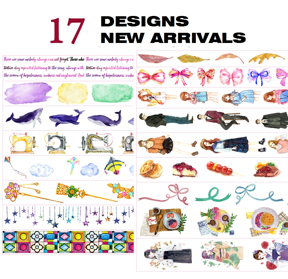 17Designs  Flowers/Leaves/Girls/Whale/Butterfly Pattern Japanese Washi Decorative Adhesive DIY Masking Paper Tape Sticker Label
