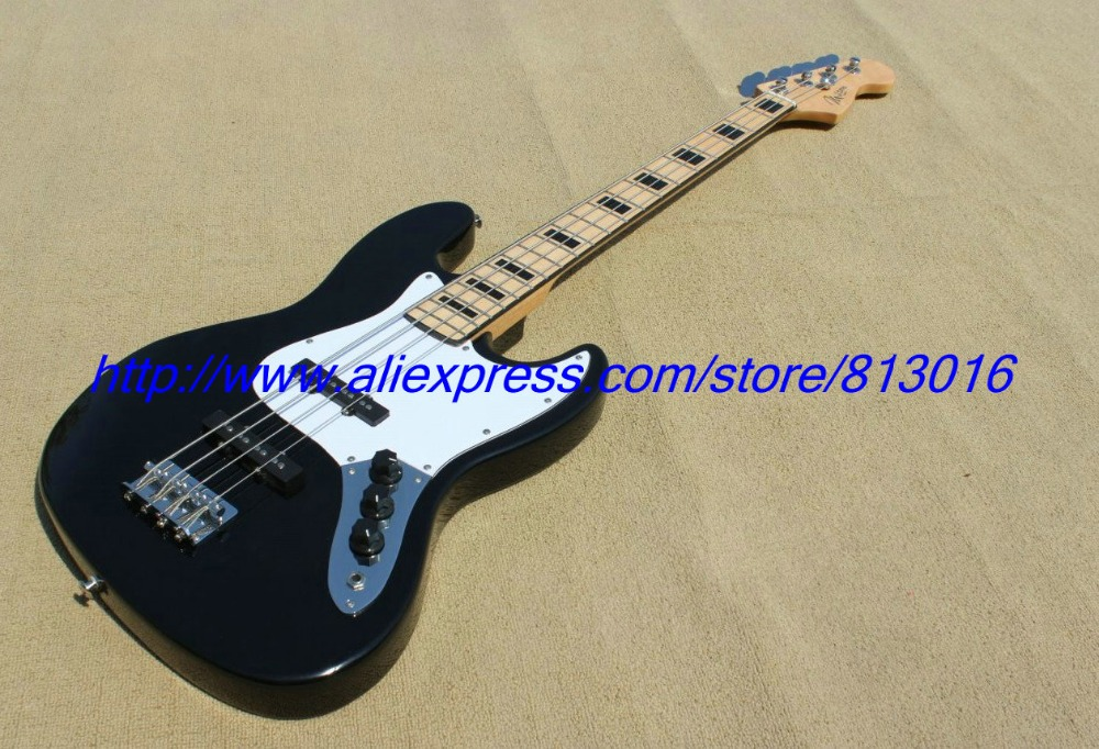 Hot ! customised electric guitar jazz bass type ,black color,maple fingerboard ,black block inay ,high grade, Chrome parts !