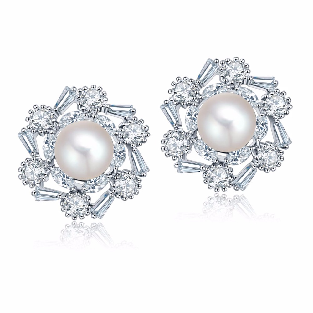 Genuine Natural Pearl Stud Earrings Rose Gold Color Flower Shape Cz Stud Earrings  Pearl Earrings Jewelry