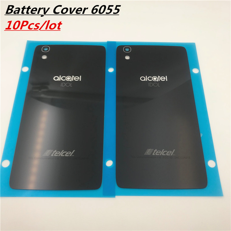 10Pcs Battery Cover For <font><b>Alcatel</b></font> <font><b>One</b></font> <font><b>Touch</b></font> <font><b>Idol</b></font> <font><b>4</b></font> <font><b>6055</b></font> OT6055 6055K 6055B 6055Y Battery Door Housing Phone Glass Case With NFC image