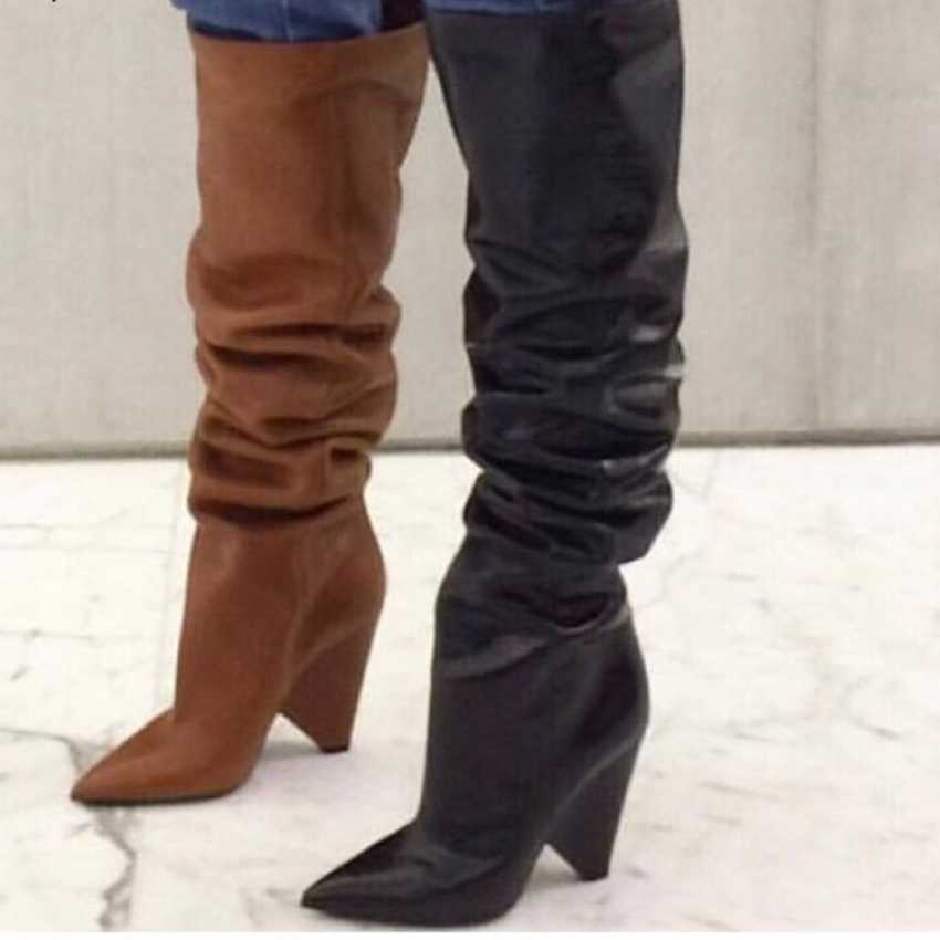 Merk Winter Vrouwen Laarzen Lange Bont Warme Lederen Dij Hoge Laarzen Mode Over de Knie Motorlaarzen Hoge Hakken Schoenen vrouw