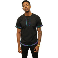 Men's African shirts Ankara print short sleeve dashiki shirts black&wax patchwork summer tops custom made Africa clothing