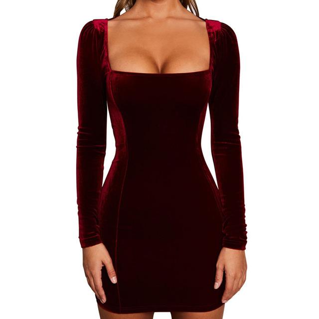 FairyShely 2019 New Vintage Women Bodycon Long Sleeve Dress Autumn Sexy Velvet Square Collar Mini Celebrity Evening Party Dress