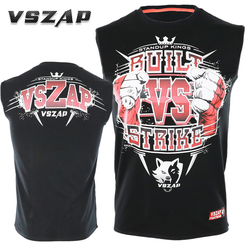 VSZAP Bangkok Kick Boxing Jersey MMA  Sleeveless T Shirt Gym Tee Fighting Martial Arts Fitness Training Clothing