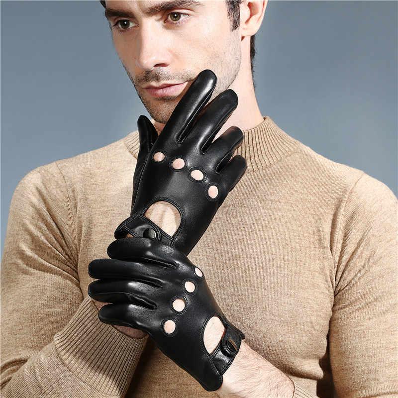 Écran tactile moto 100% gants en cuir véritable hommes doigt complet hiver été conduite mode gants peau de chèvre noir M L XL