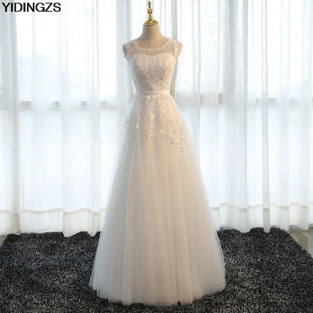 YIDINGZS אפליקציות שושבינה שמלות באורך רצפת טול קו חתונה מסיבת שמלה תחת 50