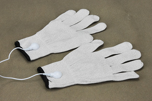 Image 5 - Electrical Shock Silver Fiber Therapy Massage Electrode Glove Electro Shock Gloves Electricity Conductive Gloves Medical Sex Toy