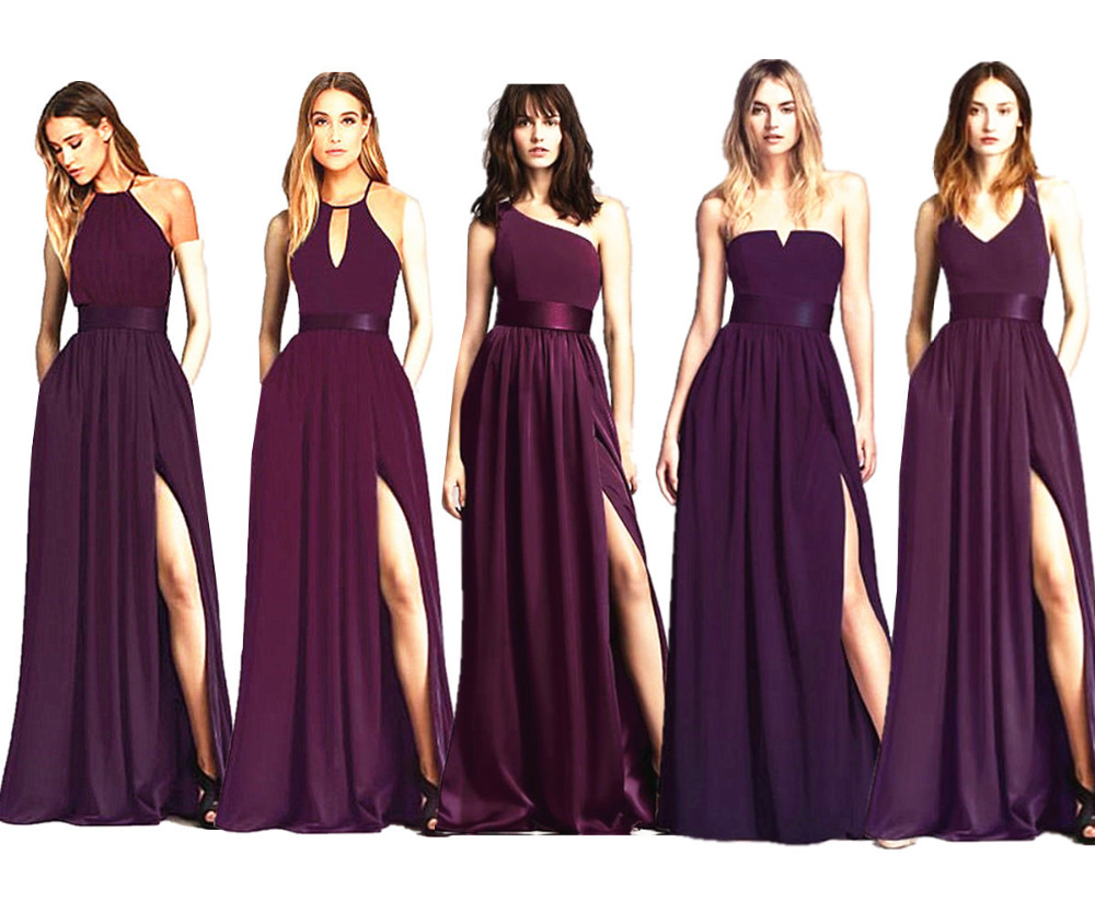 Burgundy Strapless A-Line Bridesmaid Gown Red/Navy Blue/Peach/Ivory/Champagne/Silver/Yellow Hot Chiffon Bridesmaid Dresses
