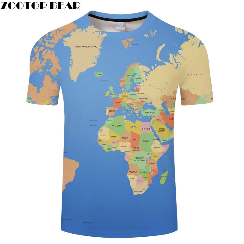Country Block 3D Print Summer t shirt Travel tshirt Men t-shirt Top Tee Funny Short Sleeve Shirt Streetwear Dropship ZOOTOP BEAR