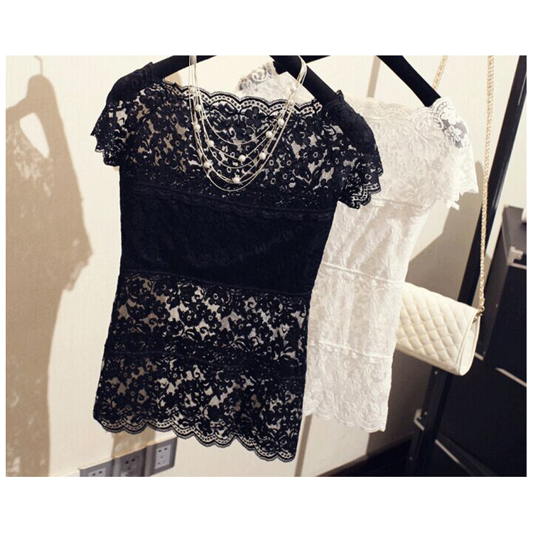 Sexy Vest Lace Clothing Camisoles Short-Sleeve T-Shirt Women Tops Hollow-Out Feminina